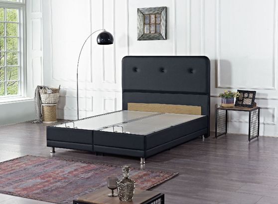 Storage twin bed in black pu leatherette
