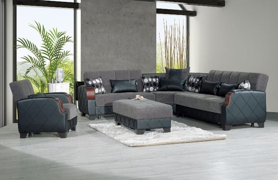 Gray unique design sectional w/ bed/storage