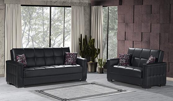 Black pu leatherette sofa sleeper