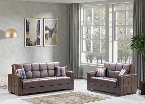 Brown pu leatherette sofa sleeper