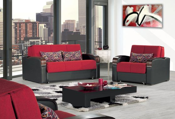 Red sleeper / sofa bed loveseat w/ storage