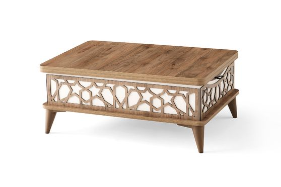 Neutral white wood lift top traditional style cocktail table