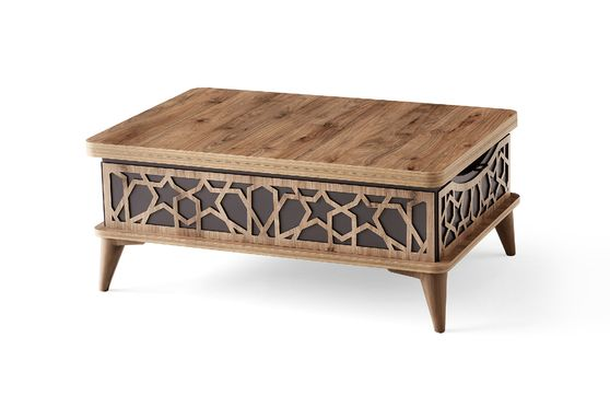 Neutral brown wood lift top traditional style cocktail table