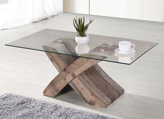 Clear glass top / x-base wood coffee table