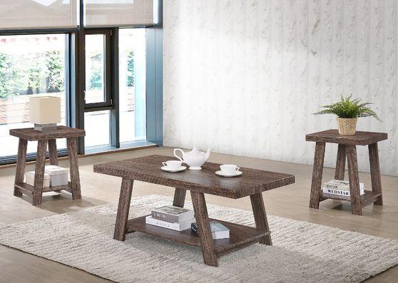 Oak dark brown 3pcs coffee table set
