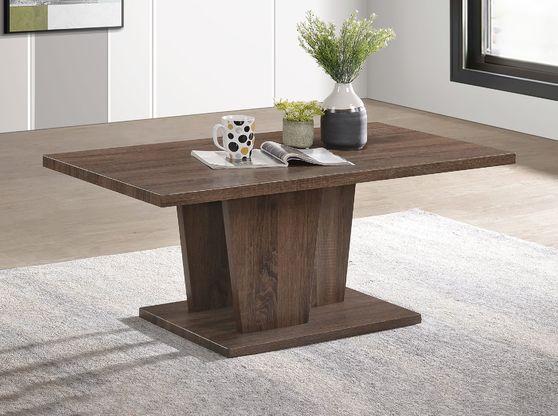 Dark brown wooden top contemporary coffee table