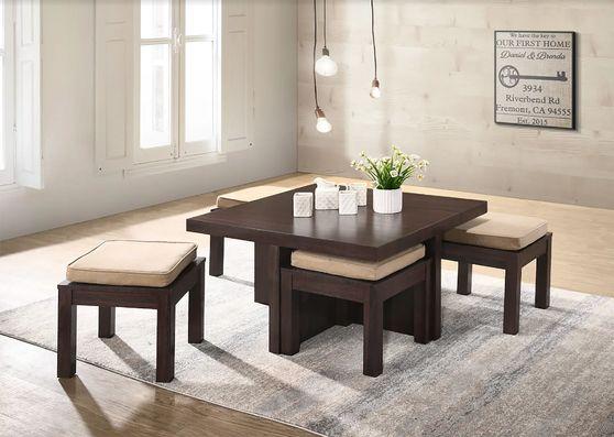 Cherry brown 5pcs coffee table + stools set
