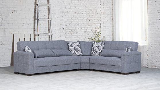 Fully reversible light gray fabric sectional