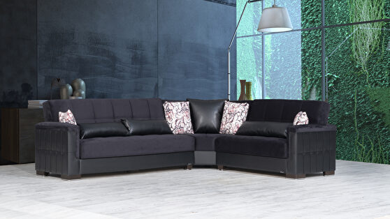 Fully reversible black fabric / black leather sectional