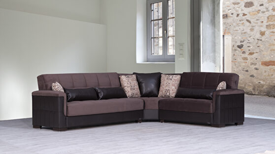 Fully reversible chocolate fabric / brown leather sectional