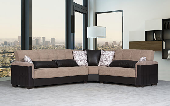 Fully reversible sand fabric / brown leather sectional