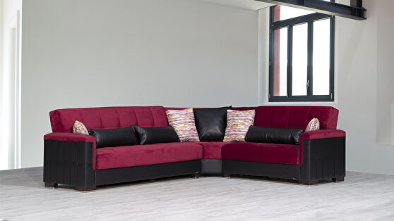 Fully reversible burgundy fabric / black leather sectional