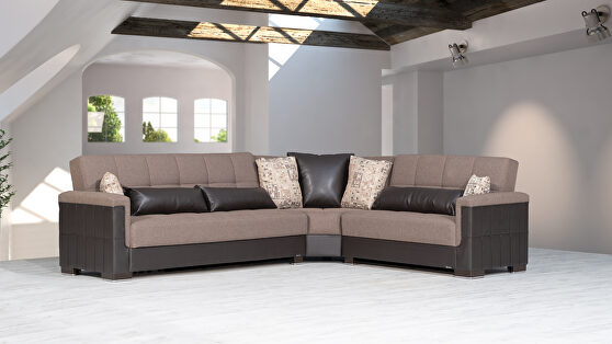 Fully reversible cocoa fabric / brown leather sectional
