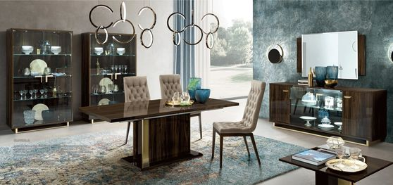 Extension walnut / gold glossy dining table