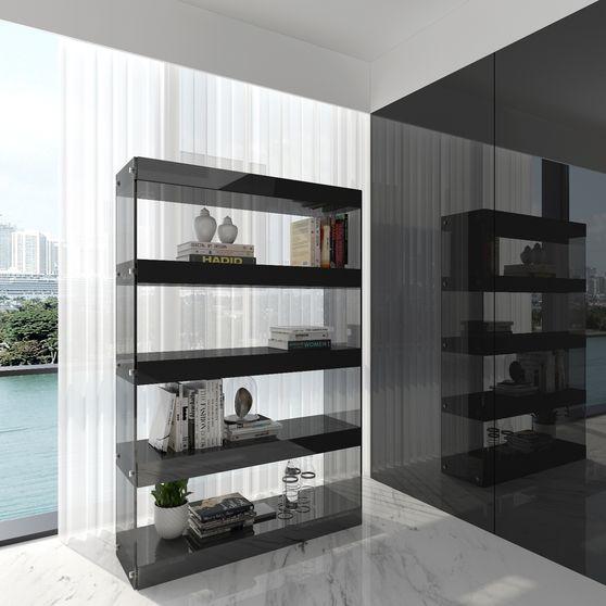 Glass/gray high gloss curio / display unit
