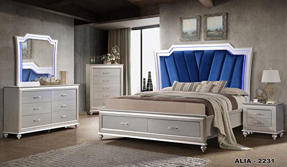 Glam style modern king bed w/ blue velvet headboard