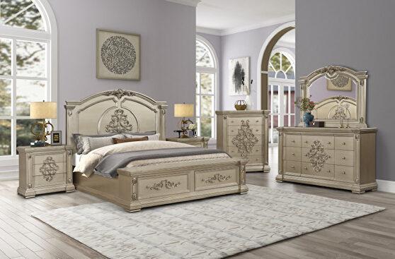 Gold platinum finish glam style king bed
