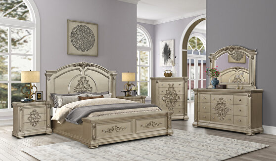 Gold platinum finish glam style bedroom
