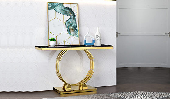 Cosmos furniture alisa modern style marble console table with metal base