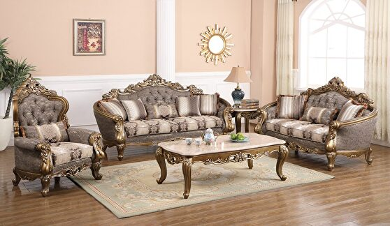 Traditional style sofa w/ bronze details