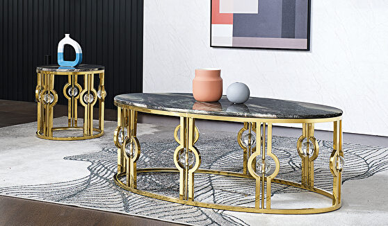 Marble coffee table with metal base