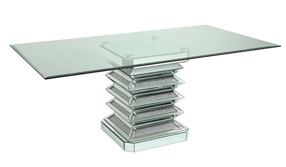 Large glam style clear glass dining table