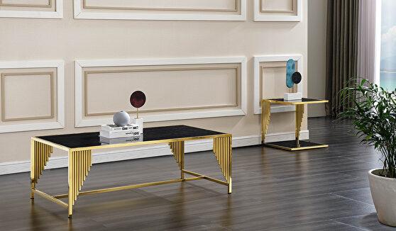 Modern style marble coffee table with metal base