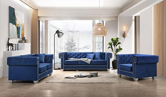 Contemporary velvet tufted back / sides sofa