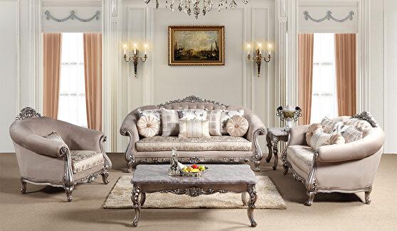 Comfortable traditional sofa in light tan finish