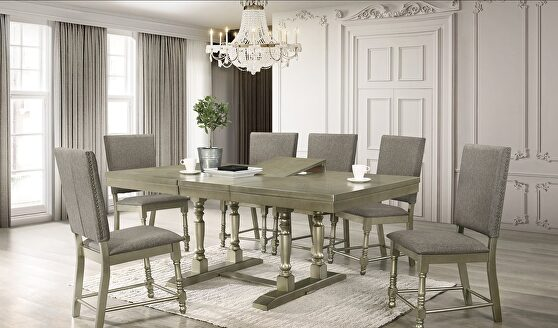 Brass finish silver glam style dining table