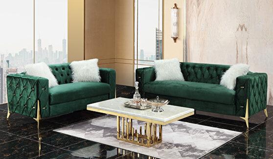 Modern style green fabric sofa w/ gold legs