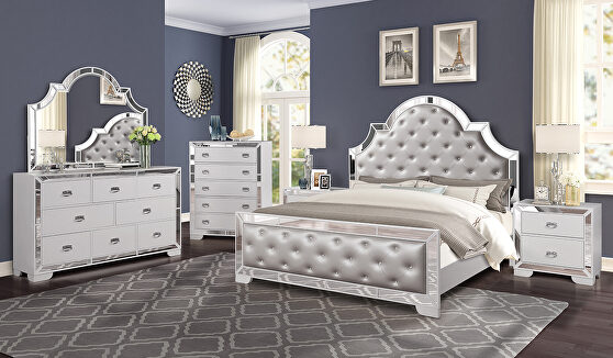 Mirrored panels glam style modern king bed