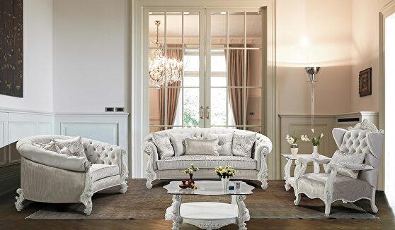 Pearl white finish wood traditional sofa