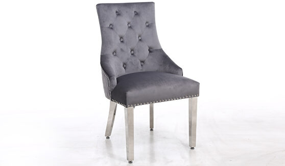 Pair of contemporary velvet tufted dining chairs