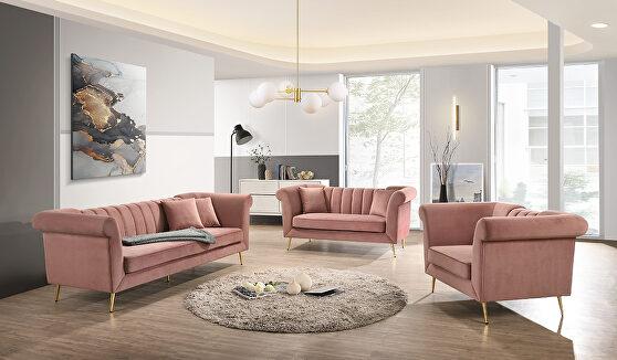 Coral pink velvet contemporary sofa