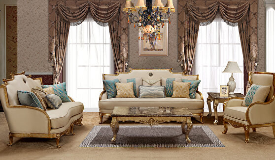 Beige classical style inspired sofa