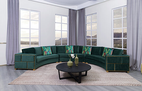 Green w/ gold details circular oversized sectional