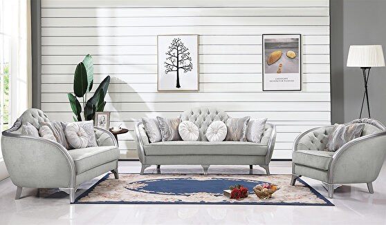 Transitional style silver gray upholstery sofa