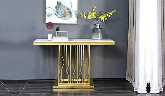 Modern style marble console table with metal base