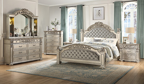 Stylish glam / casual tufted headboard king bed