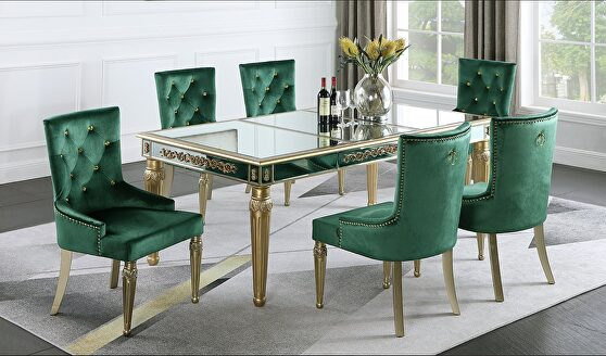 Glam style gold / mirrored finish dining table