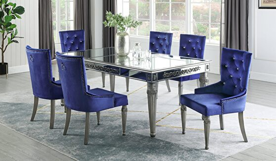 Glam style silver / mirrored finish dining table
