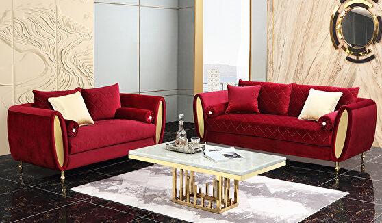 Rich red velvet contemporary sofa
