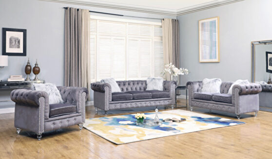 Modern style grey sofa with acrylic legs