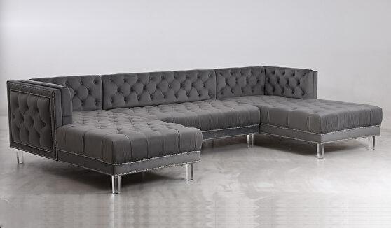 Oversized gray velvet tufted 3pcs sectional