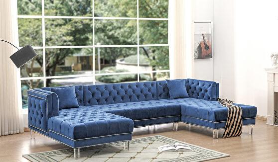 Oversized blue velvet tufted 3pcs sectional