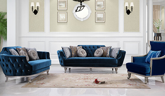 Transitional style blue sofa in silver finish wood