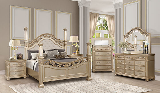 Glam mirrored panels / gold finish king bed