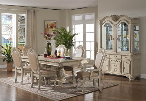 Antique white finish traditional style family size table