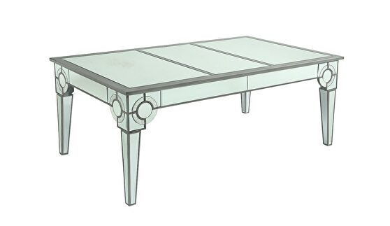 Silver / mirrored design glam style dining table
